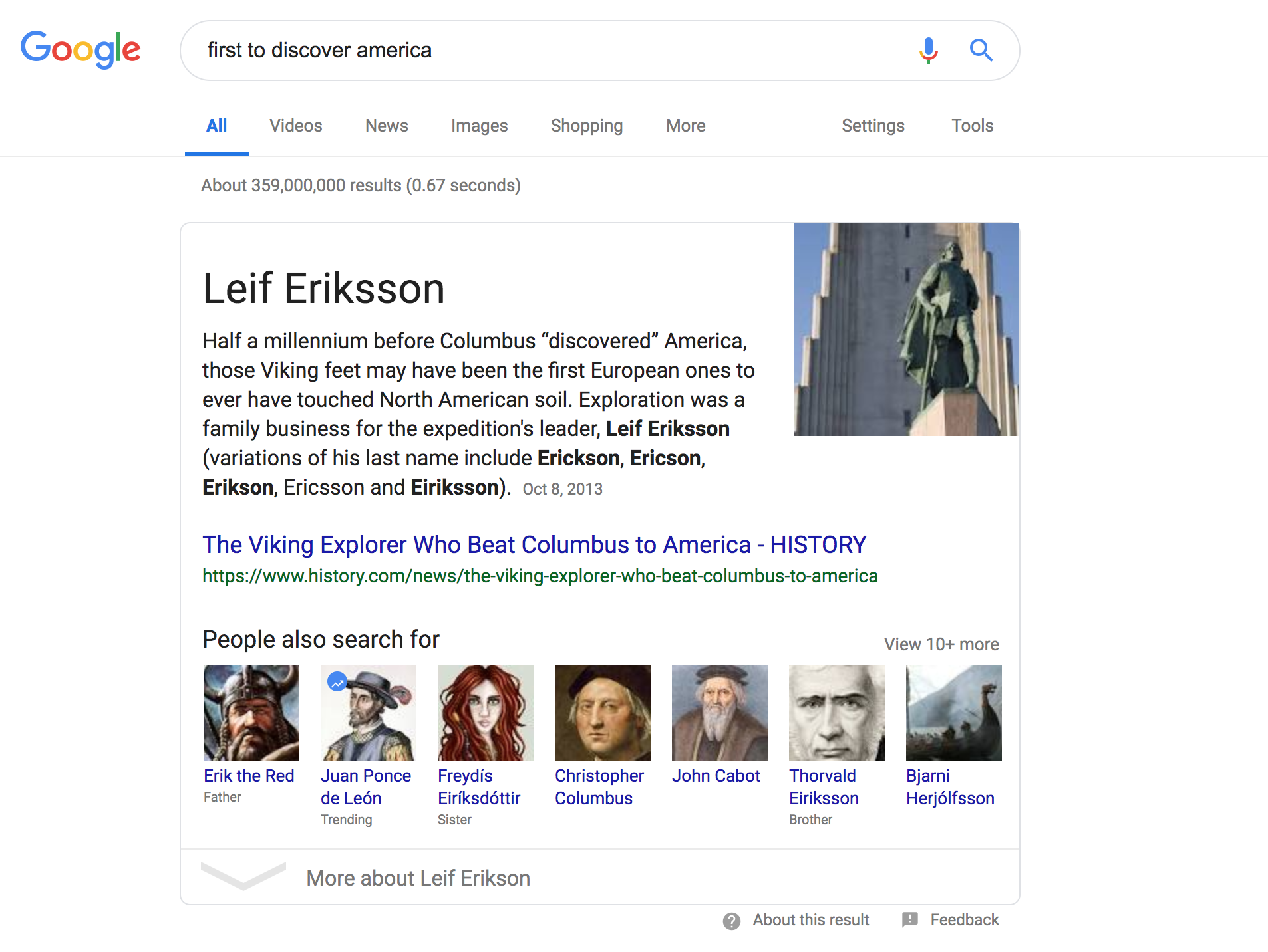 Screenshot of Google's Results